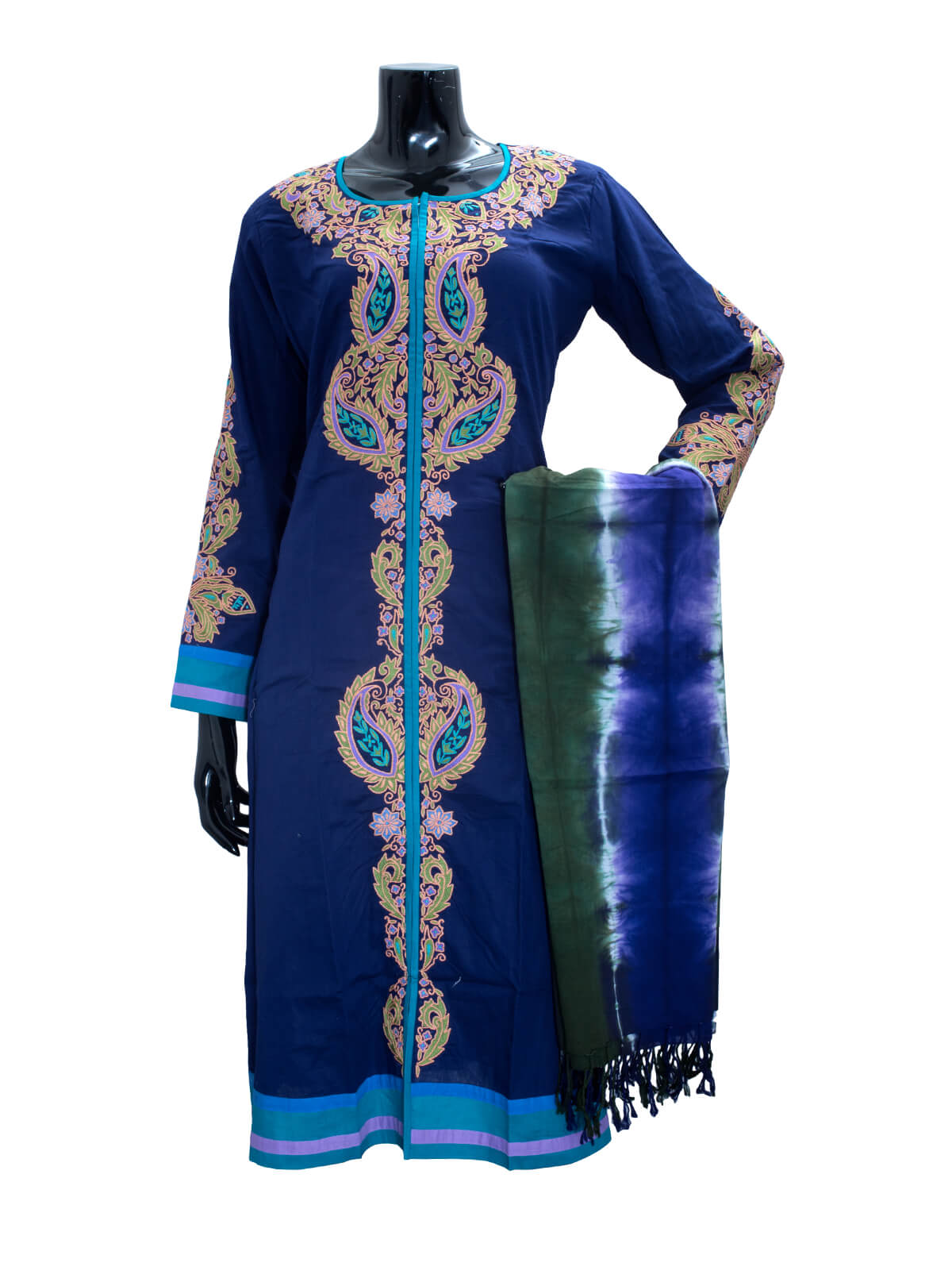 Hand Embroidered & Wax Dyed Stitched Salwar, Kameez Set For Women