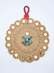 Eco-Friendly & Heritage Green Natural Jute Rope Woven Reusable Key Wall Hanger