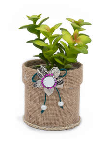 Eco-Friendly Jute Cylindrical Flower Pot with Dry Flower