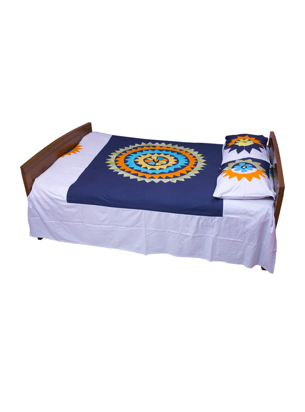 Appliqued Cotton Bed Cover Set
