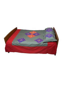 Appliqued And Embroidered Cotton Bed Cover Set