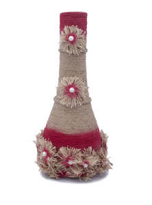 Jute Decorative Clay Flower Vase