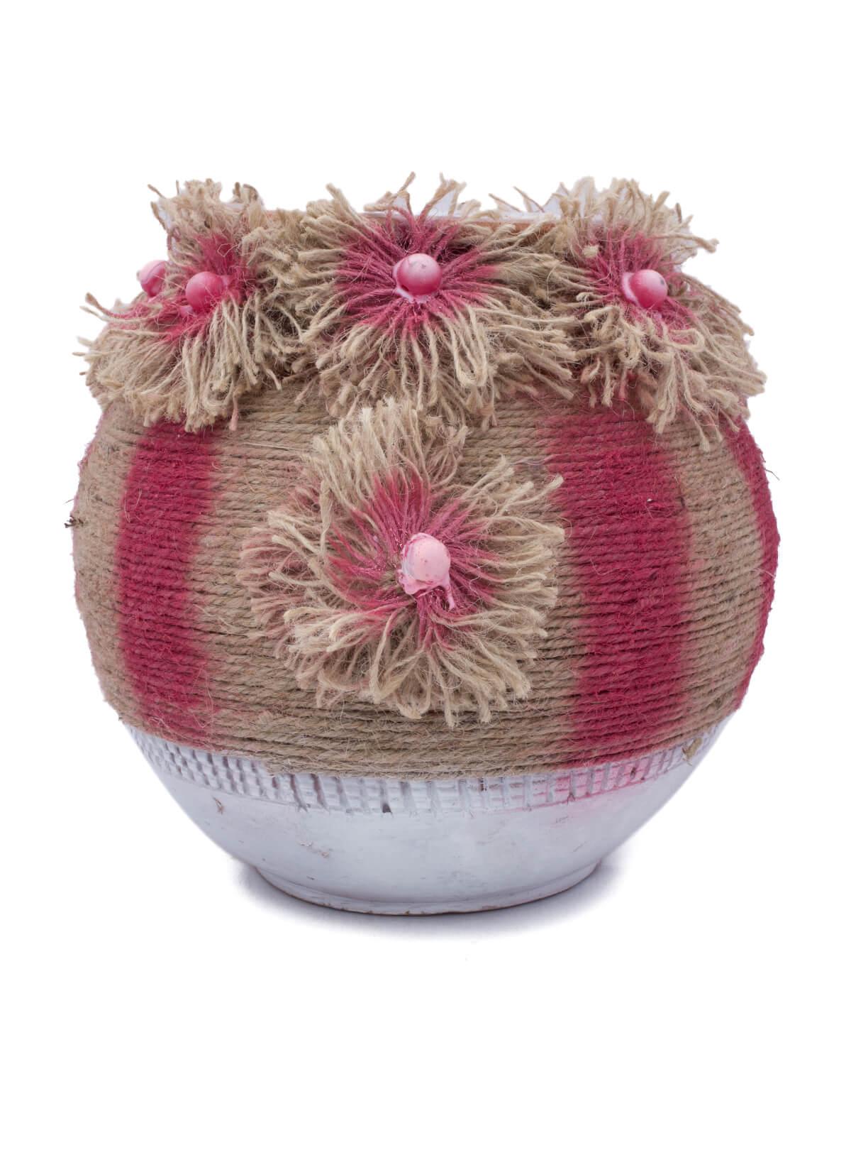 Jute Decorative Clay Flower Vase Oikko Com Bd
