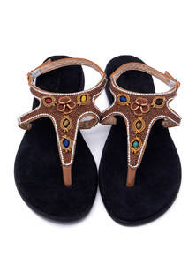 Black Ladies Leather Sandals