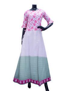 Printed Silk Skirt Top Set