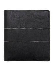 Black Leather Long Wallet for Men