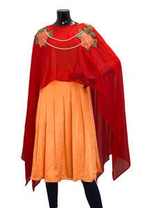 Embroidered Georgette Net Cape Style Gown