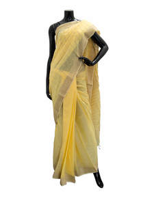 Striped Jute Cotton Saree For Women