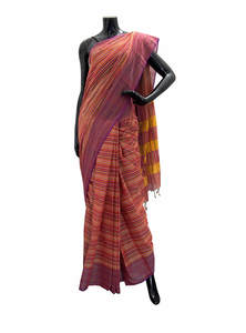 Stripe Printed Cotton Saree For Women