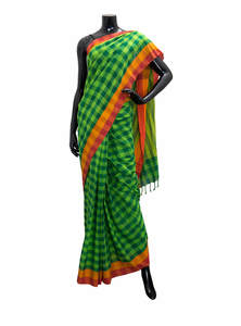 Check Printed Cotton Saree For Women