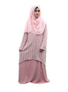 Ladies Long Coat with Instant Hijab for Elegant Muslim Women