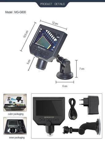 Professional Laboratory Instruments 4.3 inch lcd display mini video microscope -Black