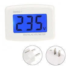 AC 80-300V in Voltage meter Plug voltmeter LCD display Digital display Voltmeter testers-Black