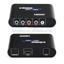 YPbPr to HDMI video converter, 1080P YPbPr video and audio R / L to HDMI adapter-Black