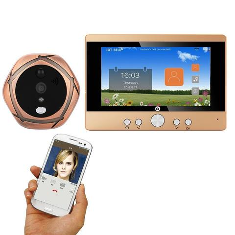 Wireless WiFi Video Door Phone 5 Display Motion Detection Camera Magic Eye -Golden