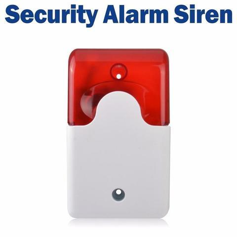 Mini Strobe Siren 12V Security Siren Wired Flash and Sound Alarm -White