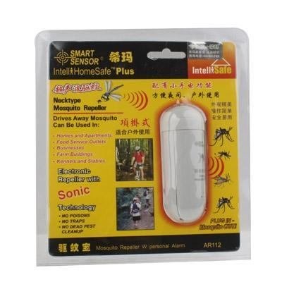 NECK-TYPE ULTRASONIC MOSQUITO REPELLER WITH PERSONAL ALARM FLASHLIGHT-White