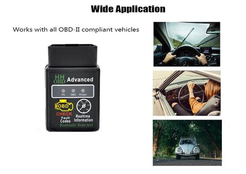 Bluetooth OBD2 OBDII Car Diagnostic Scanner Scan Tool -Black