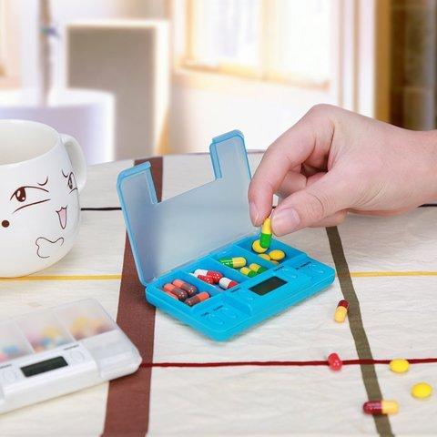 Multi-Alarm Timer Pills Reminder Medicine Box Tablet Frame Timing Pill Splitters-Blue
