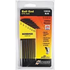 Bondhus 10932 Set of 8 Balldriver L-wrenches -Black