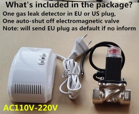 LPG Natural Gas Leak Detector Alarm With DN20 Electromagnetic Solenoid Valve for gas leakage auto shut off-White