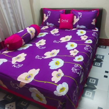 4 pcs king size bedsheet set - king size - Purple