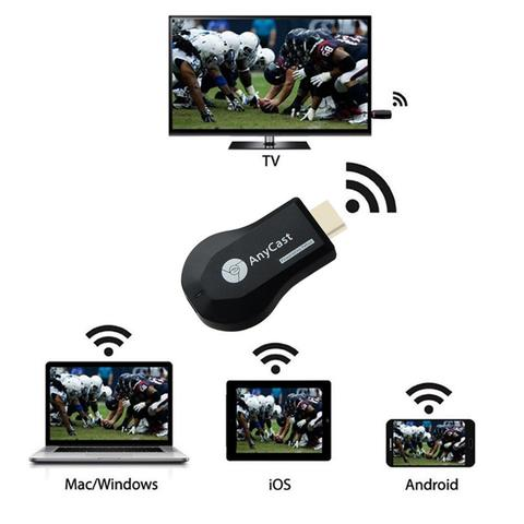 Portable AnyCast M9 Plus 1080P Wireless WiFi Receiver Dongle Receiver HUB TV Stick DLNA Miracast for phone tablet PC-Black