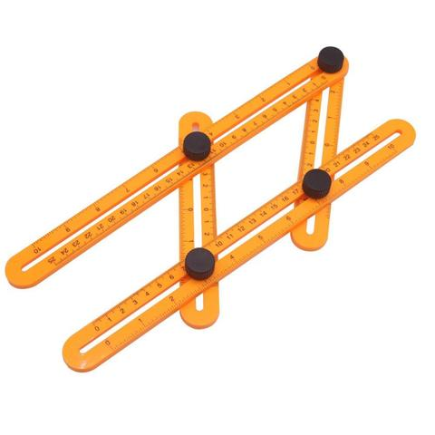1 piece angleizer template tool adjustable angle gauge yellow ruler four side rules-Yellow