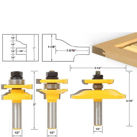 DIY Woodworking Tools 1/2*1-3/8 Bit Tongue and Groove Router Bit Set Woodwork Cutter Power Tools -Yellow