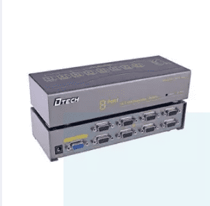 DTECH 8 Port VGA Splitter Amplifier Booster Box 1 in 8 Out for Multi Monitors with 350MHz Bandwidth-Grey
