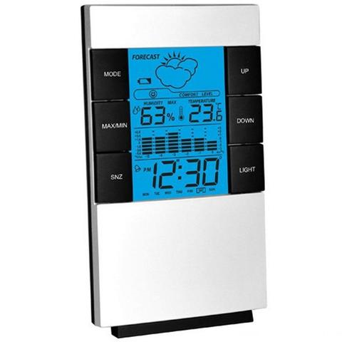 LCD Display Weather Forcast Station with Alarm Snooze Clock Humidity and Temperature Display-White