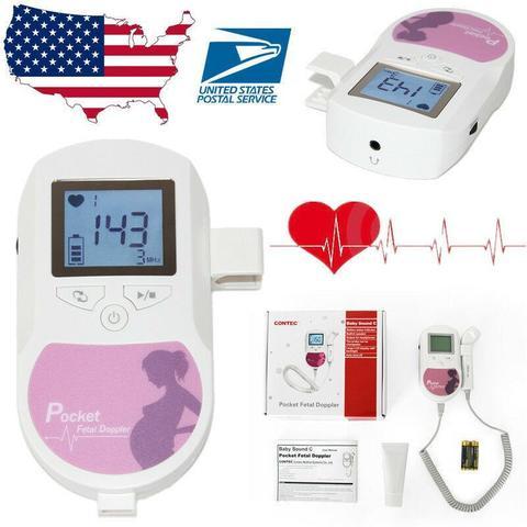 Child Doppler Target Heartbeat Monitor, CONTEC Sonoline C with 2 M probe Color Screen Pocket Fetal Doppler Prenatal-White