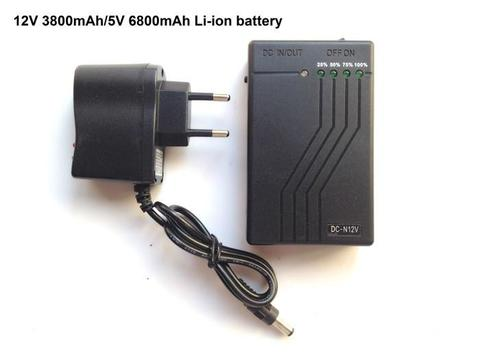 2 in 1 Mini UPS 12V & 5V polymer rechargeable li-ion battery with power level indicator-Black