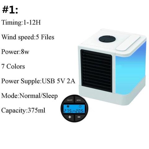 Mini Air Conditioner Cooler with 7 Colors LED Lights Air Humidifier Purifier-White