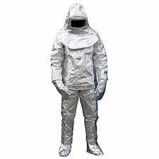High Quality 500 Degree Heat Resistant Heat Radiation Aluminized Coverall Clothes Fire Proof uniform Firefighter-Silver