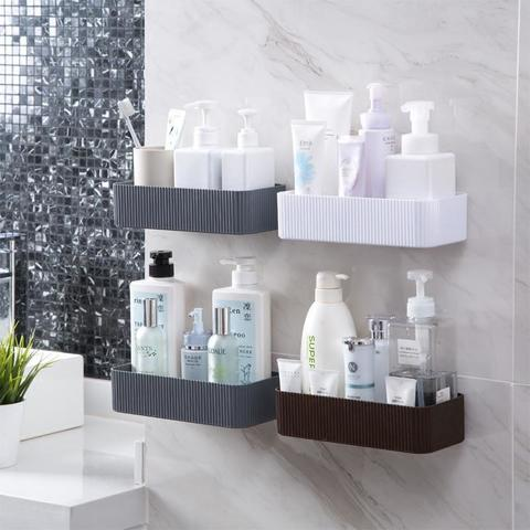 Without a trace bathroom stickers Shelves Bathroom cleaning base Free punch wall storage rack-Brown