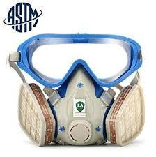 Gas mask with glasses full face skin care Abti-dust face mask Paint chemical masks activated carbon fire evacuation breathing apparatus-Blue