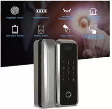 Smart Glass Door Lock Fingerprint & Touchscreen Digital Lock for Double Open Glass Door-Black