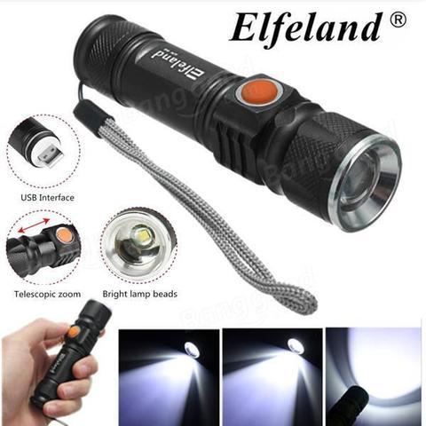 LED LIGHT 8000 LM TACTICAL USB RECHARGEABLE FLASHLIGHT 3 MODE-Black