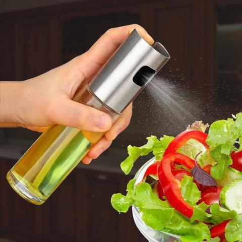 Glass Olive Oil Spray Bottle Stainless Steel Sprayer Pump Vinegar Dispenser Oil Spraying Pot BBQ Tool Kitchen Accessories-Glass