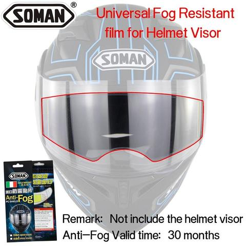 Anti-Fog Films For Full Helmet visor Pinlock Fog Resistant Lens For Cold Weather Soman Motorcycle Helmets-White