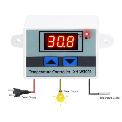 XH-W3001 10A Digital Temperature Controller Quality Thermal Regulator Thermocouple Thermostat with LCD Display 12V 24V 220V -Silver