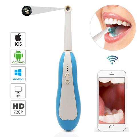 WiFi Wireless Dental Camera HD Intraoral Endoscope LED Light USB Cable Inspection for Dentist Oral Real-time Video Dental Tools-White