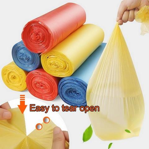 90 pcs Per roll 3rol Handy Kitchen Garbage Bag Single Color Thickened Breakpoint One-time Cleaning Waste Bag Plastic Trash bag 45 * 50 cm-Yellow