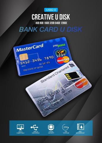 64GB New Bank Credit Card Shape USB Flash Drive Pen drive-Multicolour