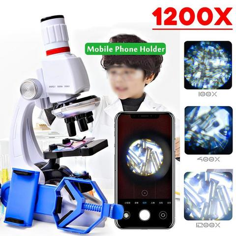 100X 400X 1200X Children Microscope Set W/ Mobile Phone Holder Science Education