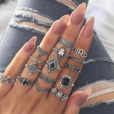 15pcs/Set Women Bohemian Vintage Silver Stack Rings Above Knuckle Blue Rings Set