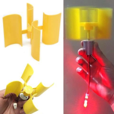 Vertical Micro Wind Turbines Generator Small DC Motor Blades DIY Kit-Yellow