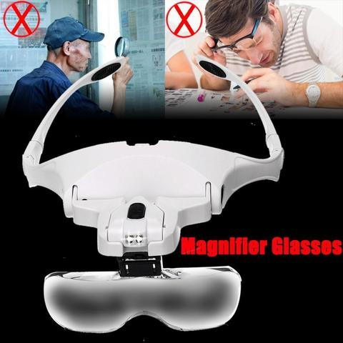 Jeweler Magnifier Magnifying Glass Loupe Glasses With LED Light-White