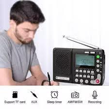 Retekess TR102 FM/AM/SW Portable Radio with Sleep Timer Receiver MP3 Player Support TF Card-Black
